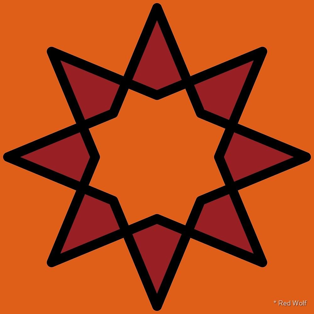 Geometric Pattern: Octagram: Blood Orange by * Red Wolf