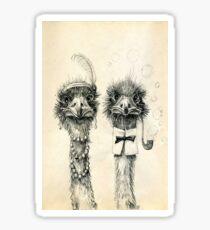 Mr. and Mrs. Ostrich Sticker