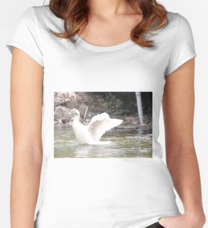 White Female Duck Women's Fitted Scoop T-Shirt