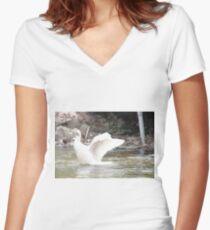White Female Duck Women's Fitted V-Neck T-Shirt