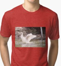 White Female Duck Tri-blend T-Shirt