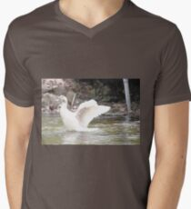 White Female Duck Mens V-Neck T-Shirt