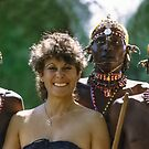 Kenya, Samburu Dancers and Happy Visitor by Heather Friedman