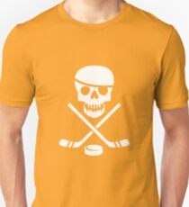 Cool Ice Hockey Pirate Logo - White on Black Unisex T-Shirt