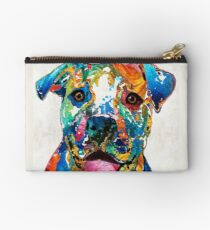 Colorful Dog Pit Bull Art - Happy - By Sharon Cummings Studio Pouch