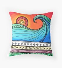 Sayulita Sunrise Surf Sessions Throw Pillow
