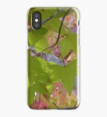 Pink and Green Autumn Leaves iPhone Case/Skin