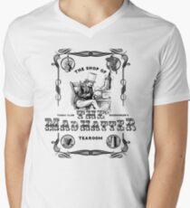 The Mad Hatter, the hatter, le chapelier fou, Alice in Wonderland, printmaking, Men's V-Neck T-Shirt