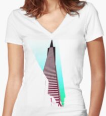 San Franpsycho 1 - Transamerica Women's Fitted V-Neck T-Shirt