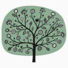 Stylized Flower Tree - Faded Green by Artberry