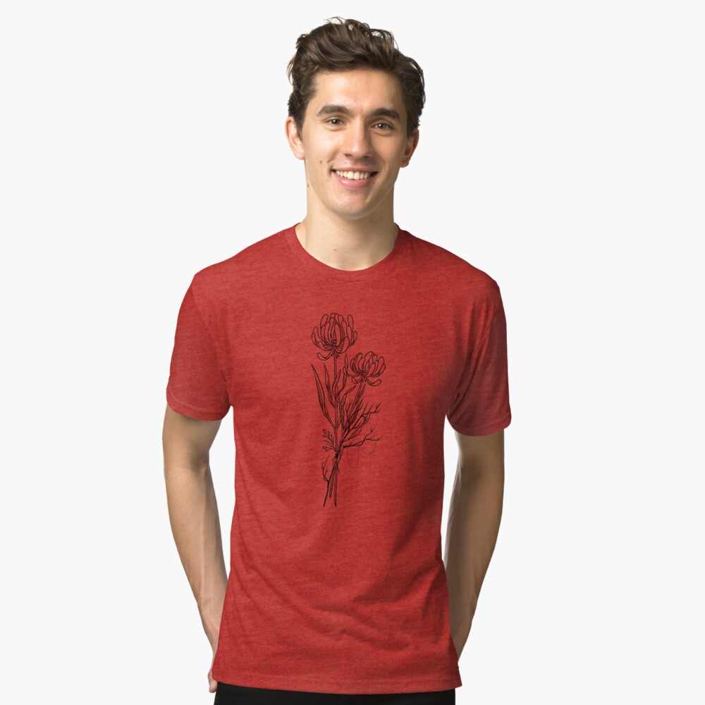 Flowers Lineart Tattoo Style // Black and White Tri-blend T-Shirt Front