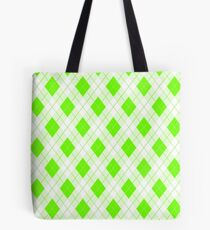 Fluorescent Neon Green Large Argyll Plaid Check  Tote Bag