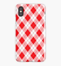 Hot Neon Red Large Argyll Plaid Check  iPhone Case