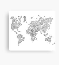 Floral continents Canvas Print
