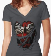 Blood Angels Armor Women's Fitted V-Neck T-Shirt
