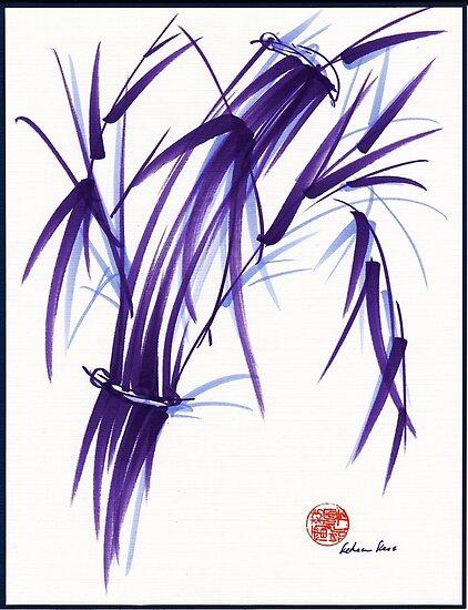 AURA - Orignal Spiritual Zen Bamboo painting by Rebecca Rees