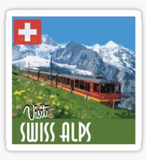 Vintage Travel Poster Swiss Alps Sticker
