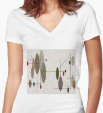 Hängende Kugeln Tailliertes T-Shirt mit V-Ausschnitt