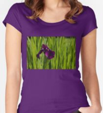 Sunny Green and Purple Summer Women's Fitted Scoop T-Shirt