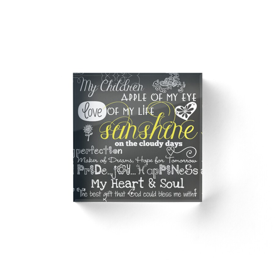 "I Love My Children Quotes My Children Love Of My Life Chalkboard Quotes"" Acrylic Blocks."