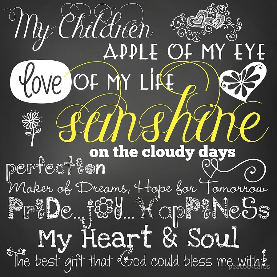 "Children Love Quotes My Children Love Of My Life Chalkboard Quotes"" Acrylic Blocks."
