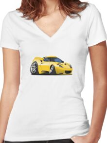 Cartoon Sportcar Women's Fitted V-Neck T-Shirt