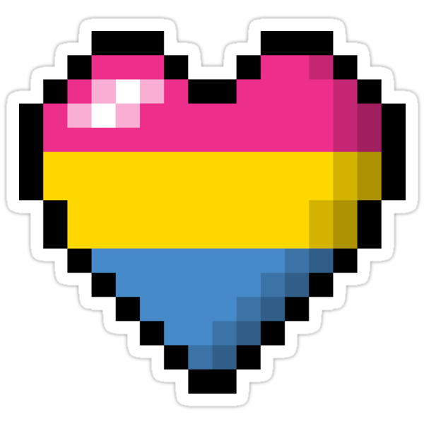 """Pansexual Pixel Heart"" Stickers By LiveLoudGraphic"