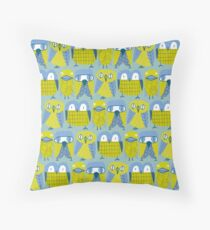 3 owls and a duck Throw Pillow