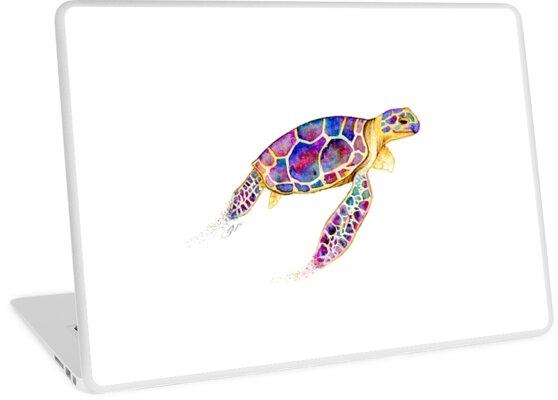 Vinilos para portátiles «Tortuga de mar de color de agua» de ...