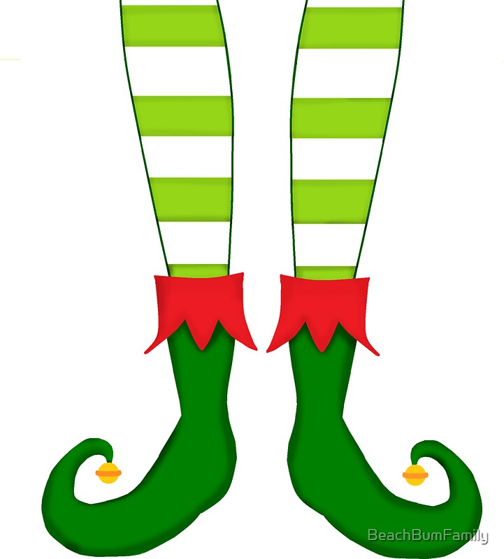 Quot Red And Green Funny Christmas Elf Feet Quot Stickers By