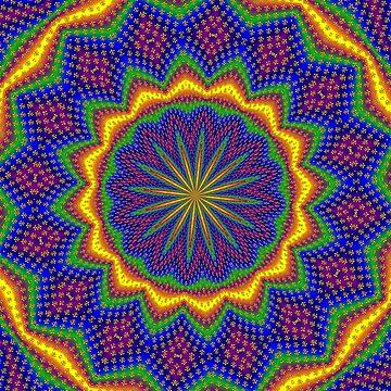 Gold Fleur De Lis And Blue Mandala by FlaminCatDesign