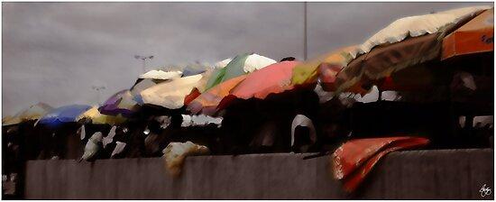 Umbrellas in a Ghana Market by Wayne King
