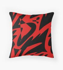 Red and Black Abstract Throw Pillow