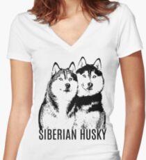 Siberian Husky Lover Women's Fitted V-Neck T-Shirt