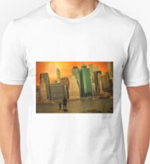 Father and son holding hands watching sunset over the shadows of Manhattan T-Shirt