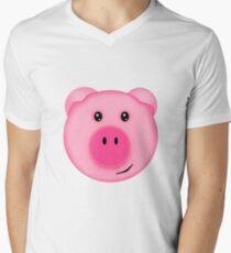 Cute Pink Farm Pig Men's V-Neck T-Shirt