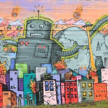 Graffiti Tshirts Urban Art - Robot Aliens War by Cartoonistlg