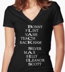 Black Sails (White Text) Women's Fitted V-Neck T-Shirt
