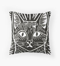 Cat Portrait Lino Print Throw Pillow