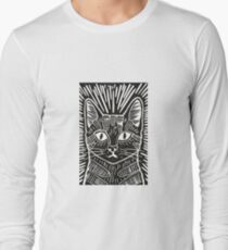 Cat Portrait Lino Print Long Sleeve T-Shirt