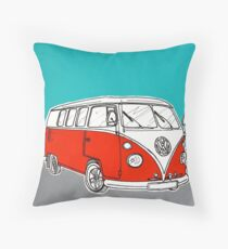 VW Camper Van ( Red )  Throw Pillow