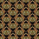 Golden Scarab Abstract Pattern in gold, black and sky blue by Warren Paul Harris