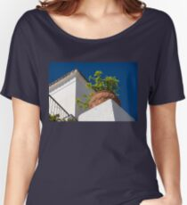 Contemplating Mediterranean Vacations - Red Tile Roofs and Terracotta Flowerpots Women's Relaxed Fit T-Shirt