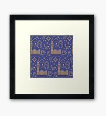 London Seamless Pattern with Big Ben, Parliament Building and Travel Elements.  Framed Print