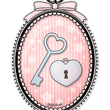 Heart Key and Lock in a Vintage Frame by gigglish