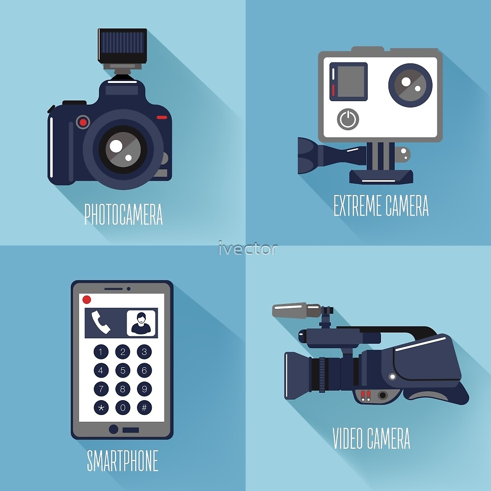 Modern Technologies. Professional Photo and Video Camera, Extreme Camera and Smart Phone.  by ivector
