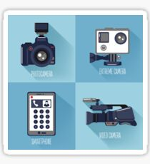 Modern Technologies. Professional Photo and Video Camera, Extreme Camera and Smart Phone.  Sticker