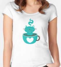 Cat in a Cup Women's Fitted Scoop T-Shirt