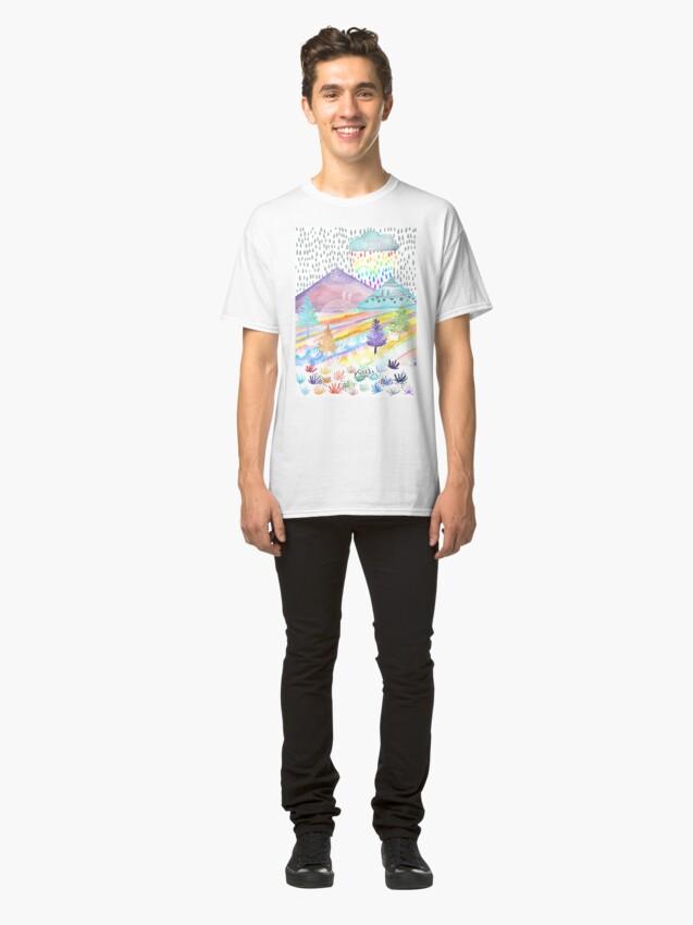 Vista alternativa de Camiseta clásica Paisaje de acuarela