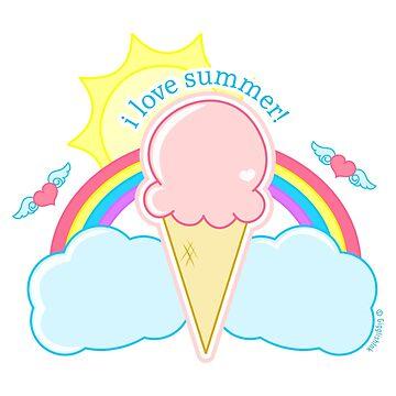 I Love Summer Ice Cream Cone by gigglish